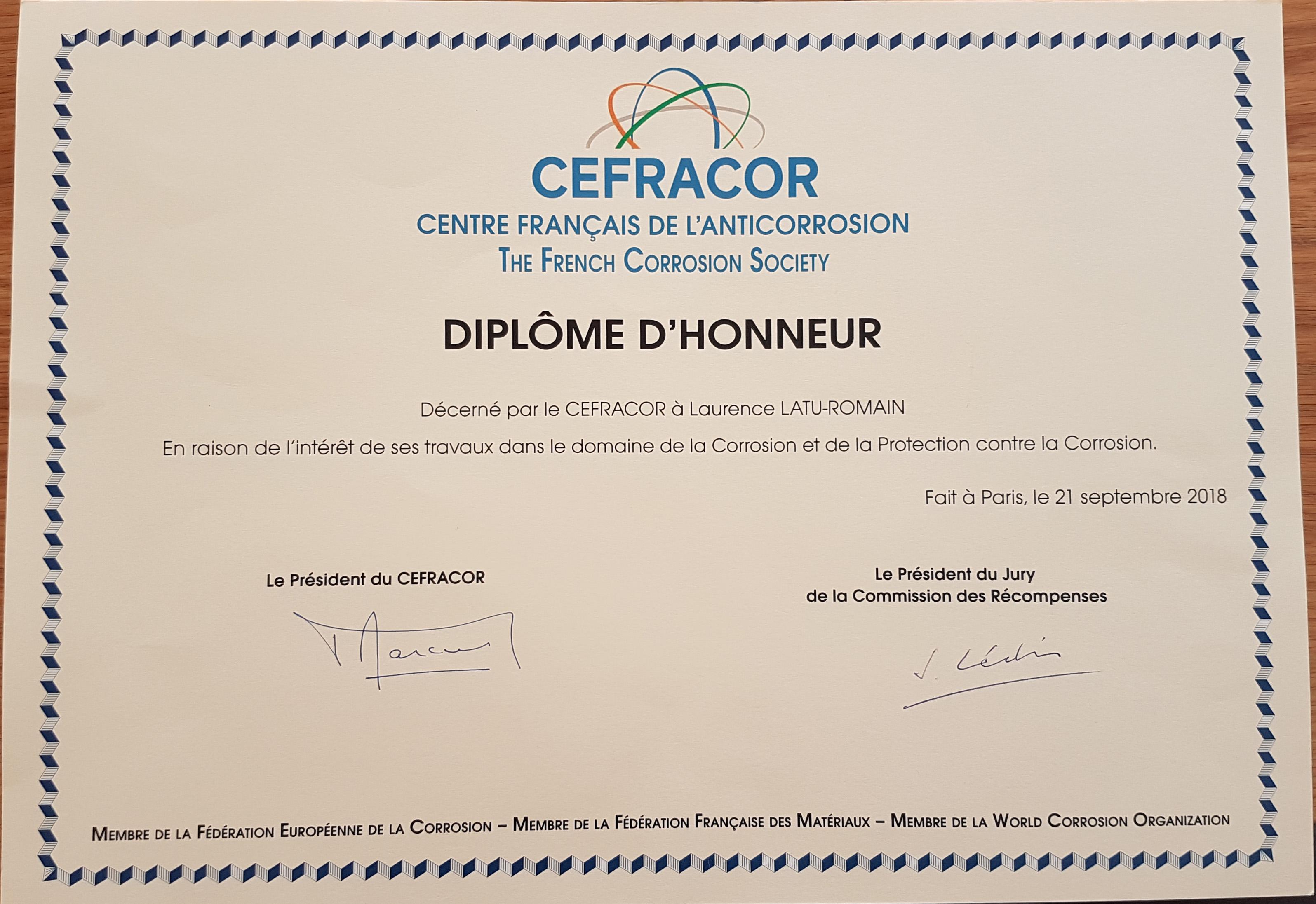 diplome d'honneur CEFRACOR