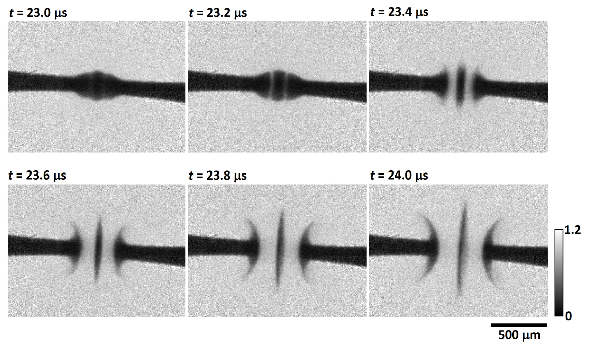 X-ray radiographs of electric arc ignition during fuse operation.