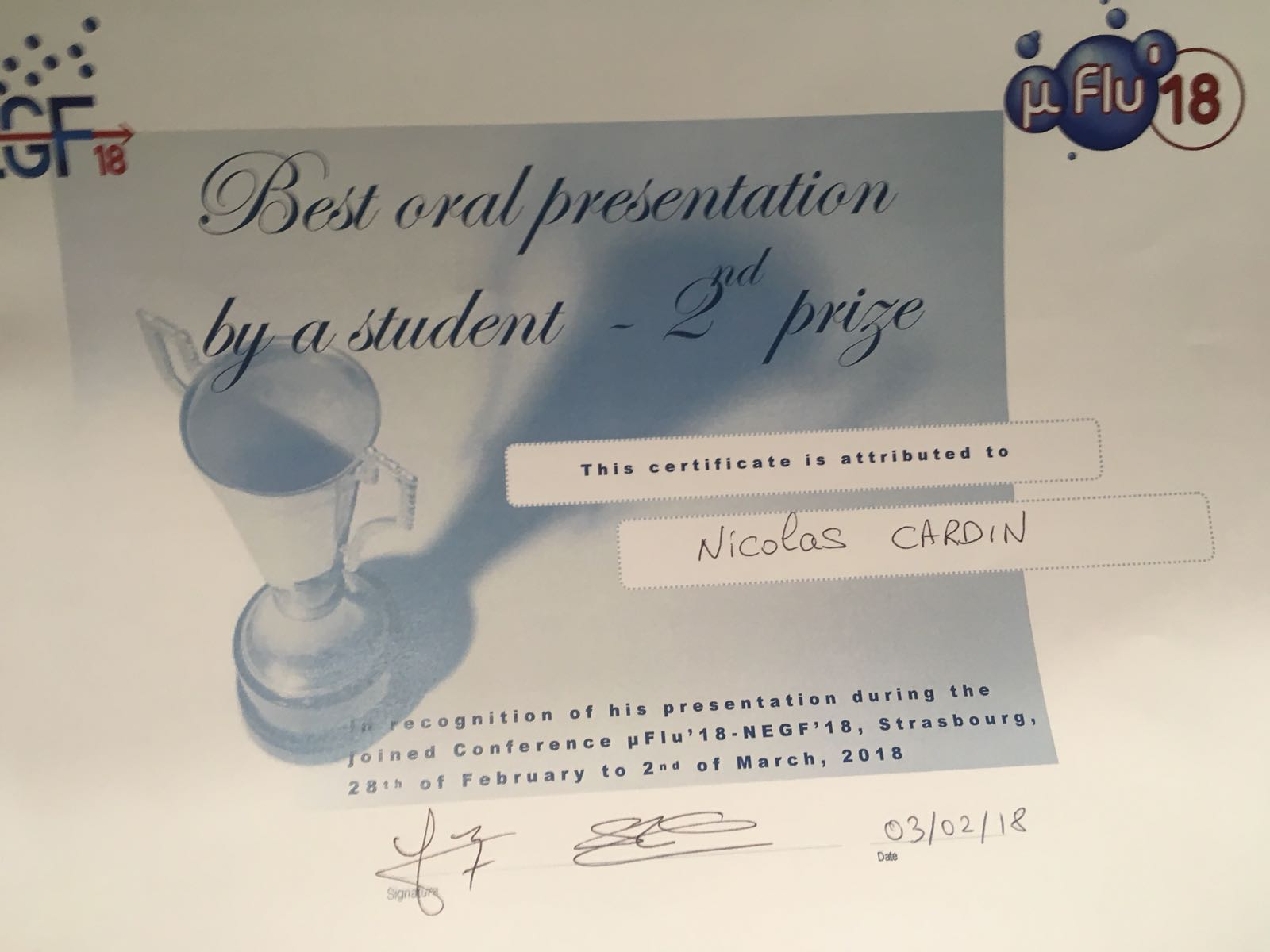 Prix microflu N. Cardin SIMaP/CETHIL