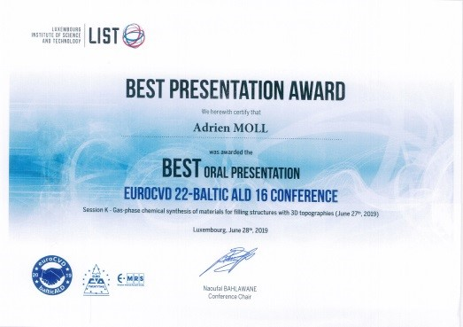 Prix EuroCVD22  - Adrien MOLL - SIMaP